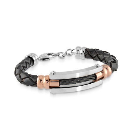 Cable Leather Bracelet // Black