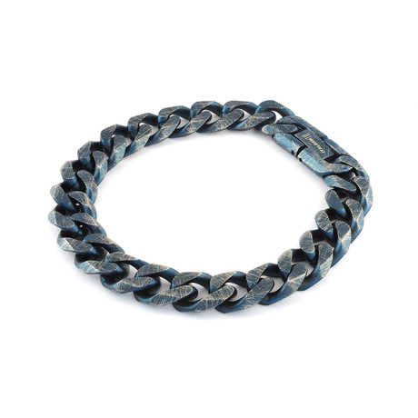 Vintage Surface Curb Link Bracelet // Blue