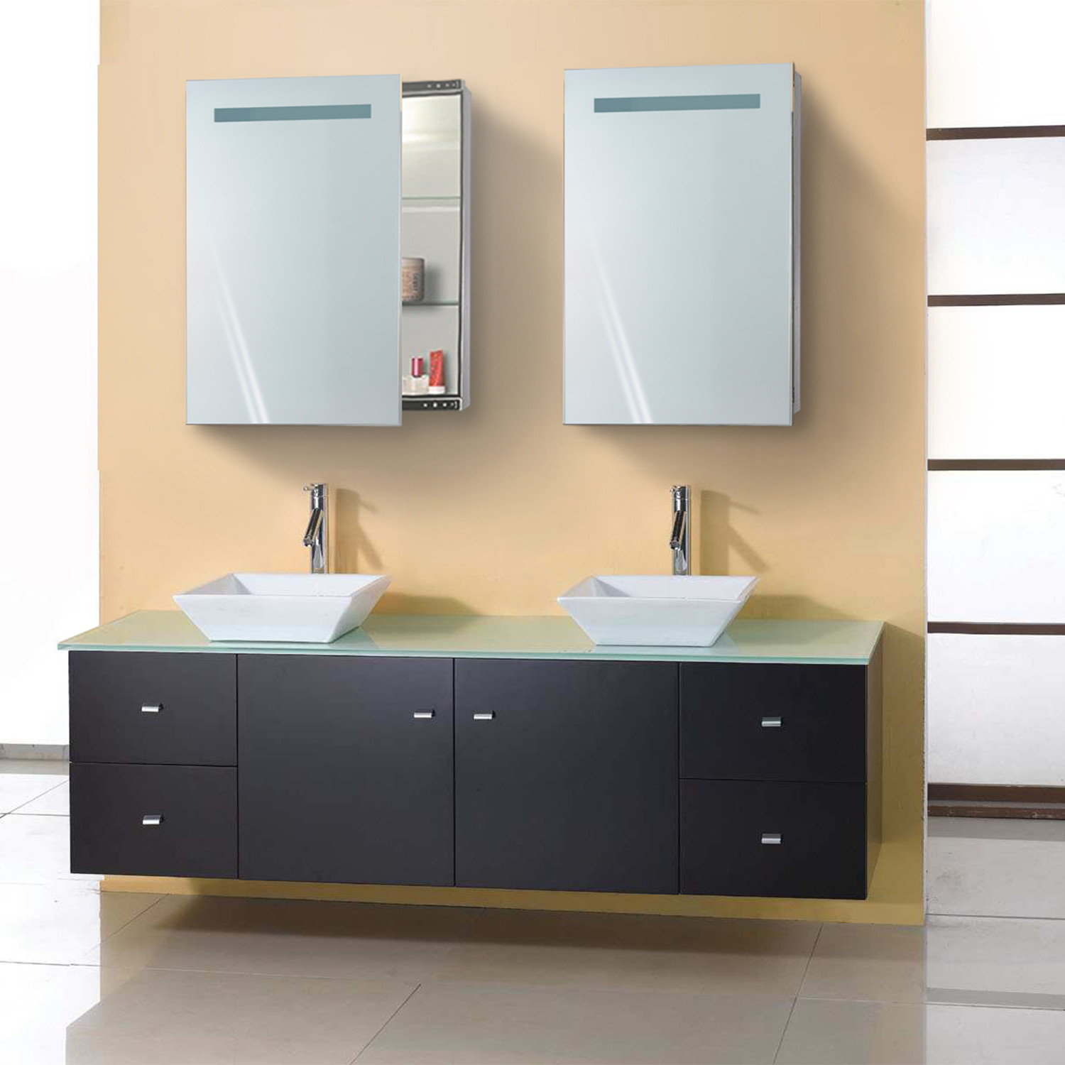 Led Medicine Cabinet Sliding Mirror Outlet Shelves Krugg Reflections Touch Of Modern