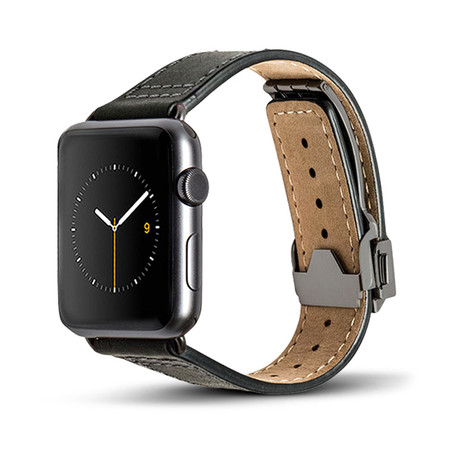 Black Leather Deployant Band // 38mm (Space Gray Aluminum)