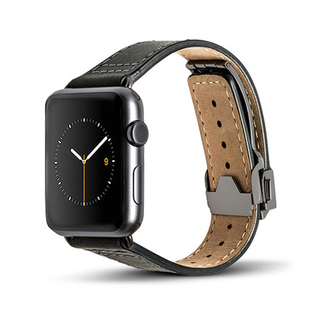 Black Leather Deployant Band // 42mm (Space Gray Aluminum)