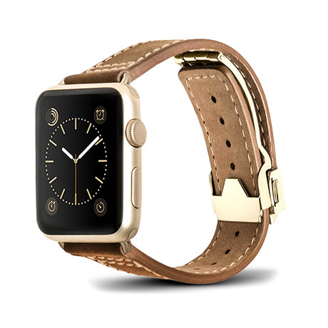 Brown Leather Deployant Band // 42mm (Rose Gold Aluminum)