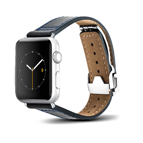 Blue Leather Deployant Band // 38mm (Space Gray Aluminum)