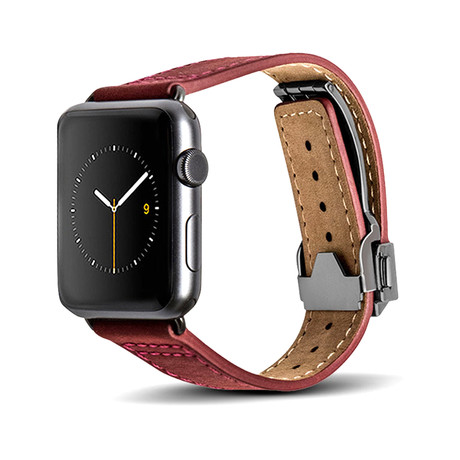 Red Leather Deployant Band // 42mm (Space Gray Aluminum)