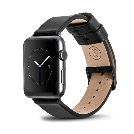 Black Classic Leather Band // 42mm (Space Gray Aluminum)