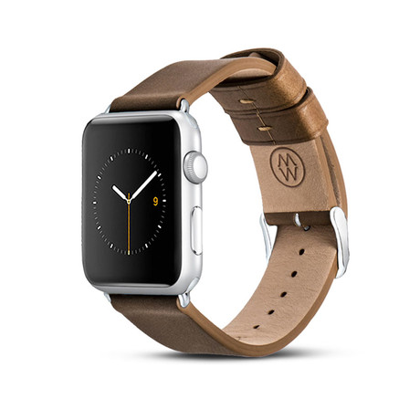 Brown Classic Leather Band // 38mm (Silver Aluminum)
