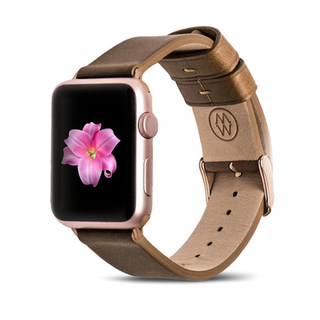 Brown Classic Leather Band // 42mm (Rose Gold Aluminum)