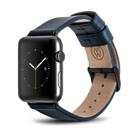 Blue Classic Leather Band // 38mm (Space Gray Aluminum)