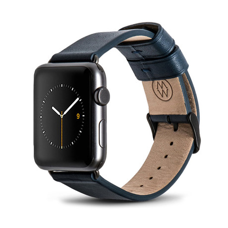 Blue Classic Leather Band // 42mm (Space Gray Aluminum)