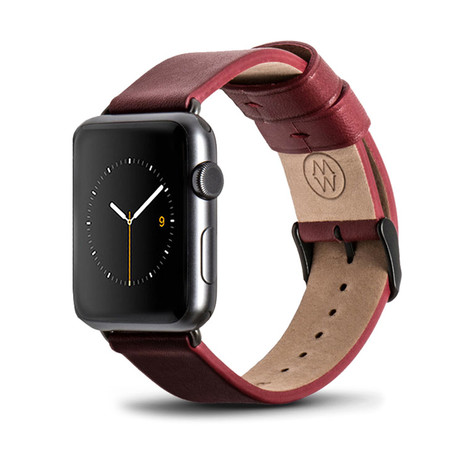 Red Classic Leather Band // 38mm (Space Gray Aluminum)