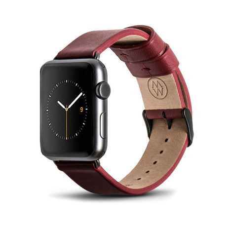 Red Classic Leather Band // 42mm (Space Gray Aluminum)