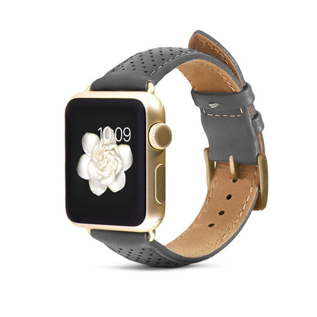 Gray Perforated Leather Band // 38mm (Yellow Gold Aluminum)