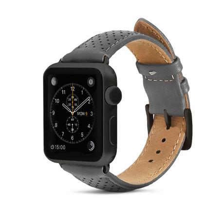 Gray Perforated Leather Band // 42mm (Space Gray Aluminum)