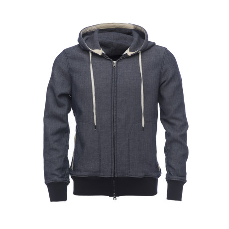 Herringbone Zip Hood // Blue (XS)
