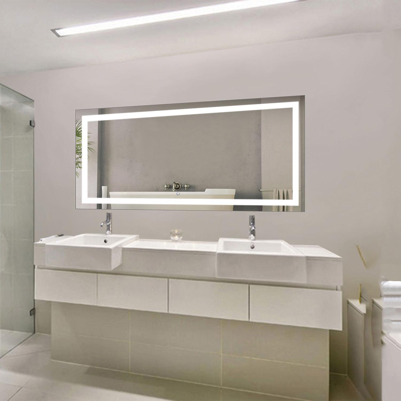 Led bathroom mirror defogger dimmer horizontal 60 - Large horizontal bathroom mirrors ...