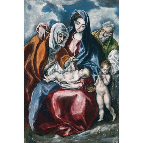 "The Holy Family With Saint Anne And The Infant John The Baptist // El Greco // 1595 (18""W x 26""H x 0.75""D)"