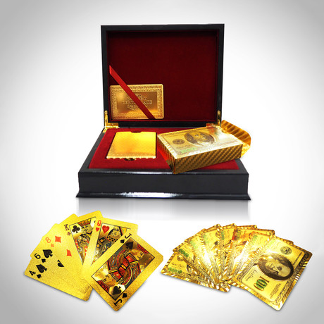 24K Gold Plated Playing Cards // 2 Decks // $100