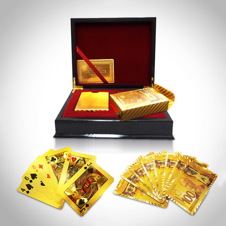 24K Gold Plated Playing Cards // 2 Decks // 100 CAD
