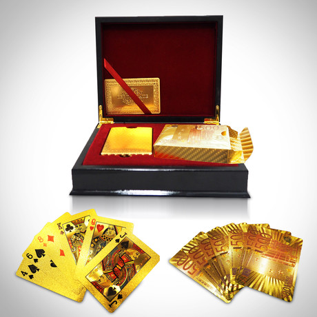 24K Gold Plated Playing Cards // 2 Decks // 500€