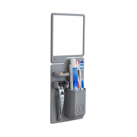 Toothbrush/Razor Holder + Mirror Pack // Grey