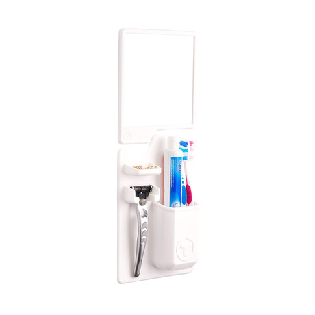 Toothbrush/Razor Holder + Mirror Pack // White