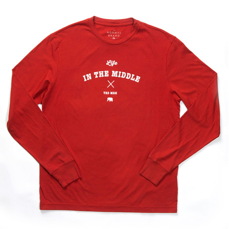 L/S Life in the Middle T-Shirt // Rust + White (S)