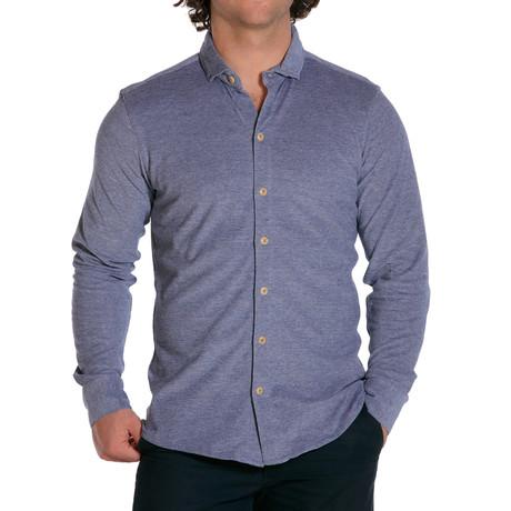 L/S Knit Button Down Shirt // Atlantic Blue (S)
