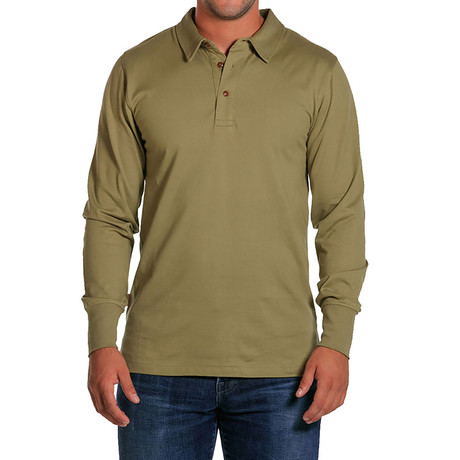 Double Knit Long Sleeve Polo // Olive (S)