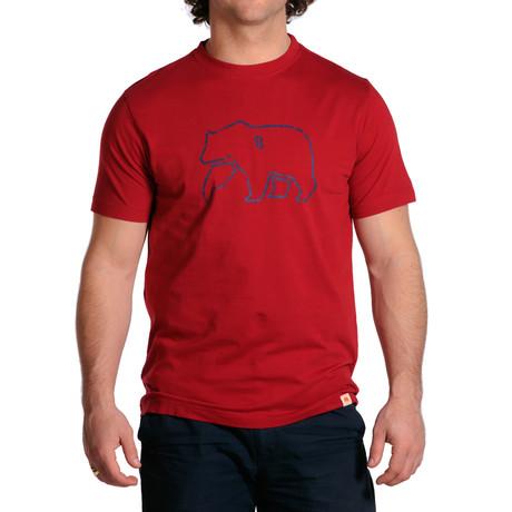 S/S Bear T-Shirt // Red + Navy (S)