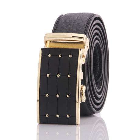 Black Belt // Gold Studs Buckle // AEB015