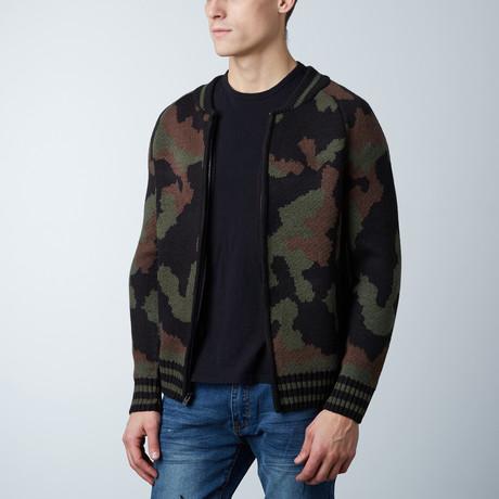 Varsity Sweater In Camo // Olive Camo (S)