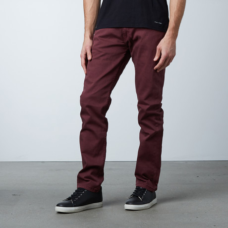 Garment Dyed 5-Pocket Jean // Burgundy (30WX32L)