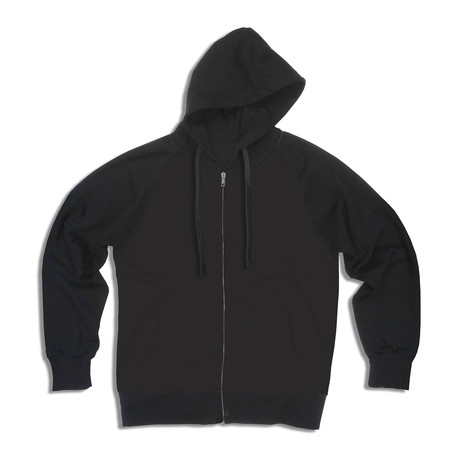 French Terry Zip Hoody // Solid Black (S)