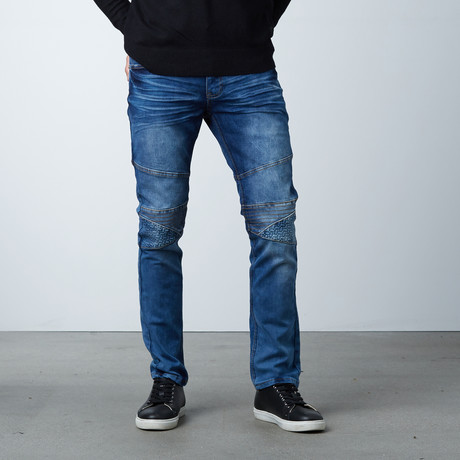 Geo Embossed Jeans // Medium Blue (30WX30L)