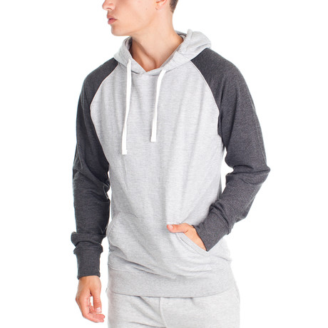 Two Tone Pullover Hoody // Gray + Charcoal (S)
