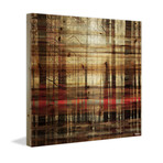 "Forest Red Glow Painting Print // Natural Pine Wood (18""W x 18""H x 1.5""D)"