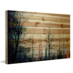"Deserted Night Forest Painting Print // Natural Pine Wood (18""W x 12""H x 1.5""D)"