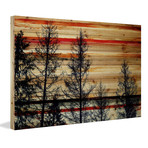 """Red Streaked Sky Painting Print // Natural Pine Wood (18""""W x 12""""H x 1.5""""D)"""