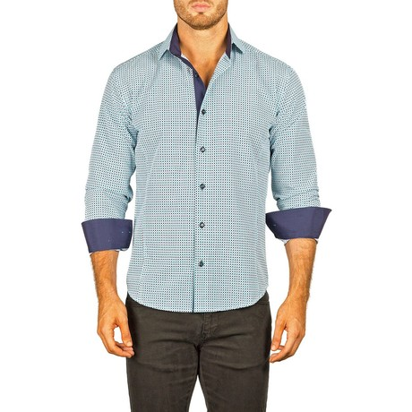 Long-Sleeve Button-Down Micro-Check Shirt // Turquoise (XS)