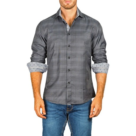 Long-Sleeve Button-Down Plaid Shirt // Black (XS)