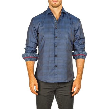 Long-Sleeve Button-Down Plaid Shirt // Navy (2XL)