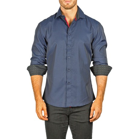 L/S Button-Down Circles Shirt // Navy (XS)
