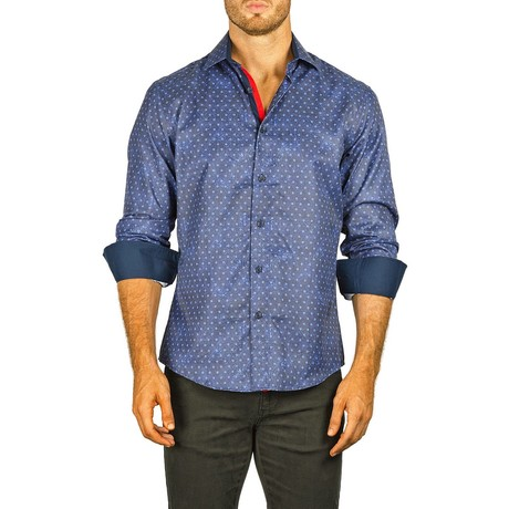 Long-Sleeve Button-Down Paisley + Dotted Shirt // Blue (XS)