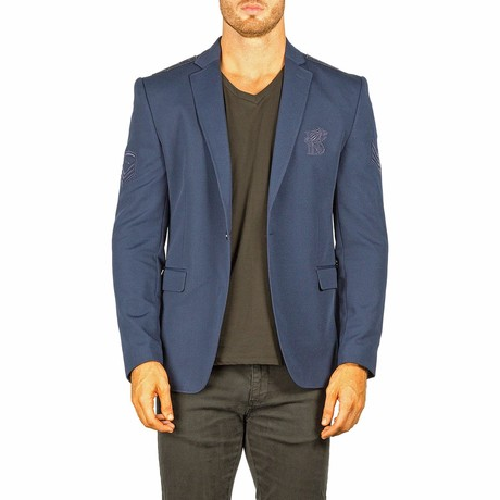 Embroidered Blazer // Navy (US: 40R)