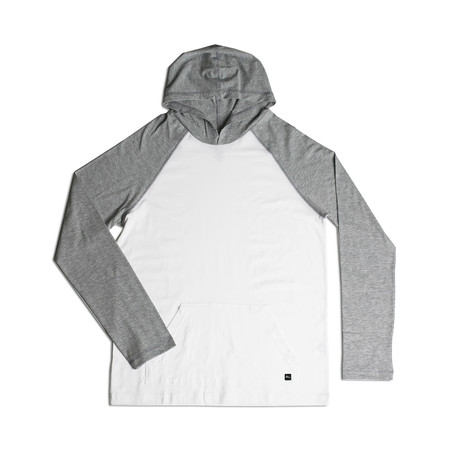 All Day Light Weight Hoodie // Grey + White (S)