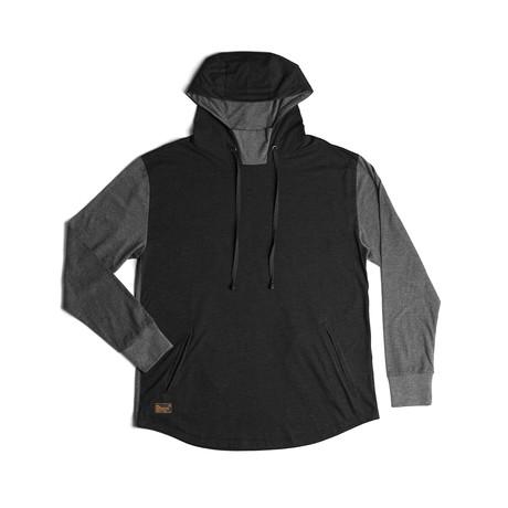 Restore Hoodie // Black + Charcoal (S)