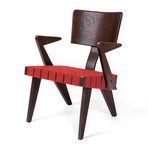Spanner Lounge Chair (Light Birch + Red)