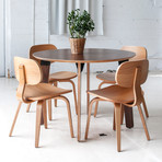Sudbury Dining Table // Round (White Powder + Oak)