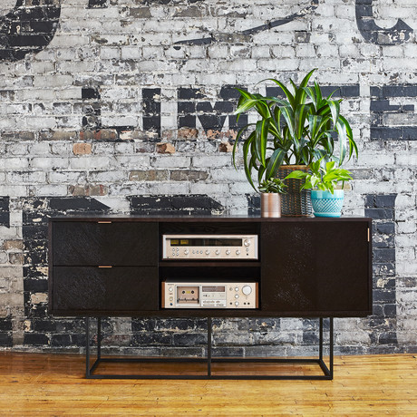 Myles Media Stand (Black Oak)