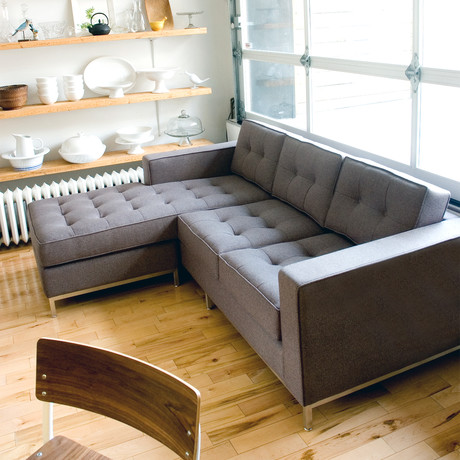 Jane Loft Bi-Sectional // Stainless Steel Base (Leaside Driftwood)